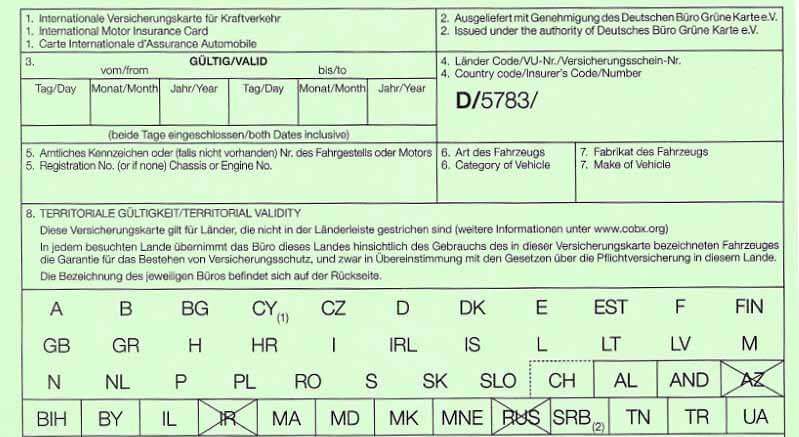 Deutsche Büro Grüne Karte Versicherungskarte